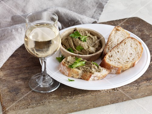 Goose liver pate on bread