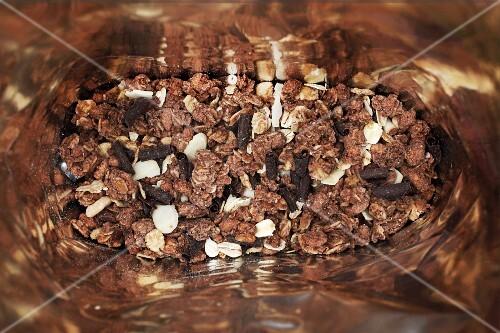 Chocolate muesli in a bag