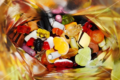 A mixture of sweets in a bag