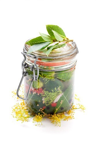 A jar of homemade gherkins with dill flowers and bay leaves