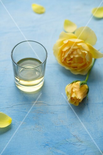 Rosewater and a yellow rose