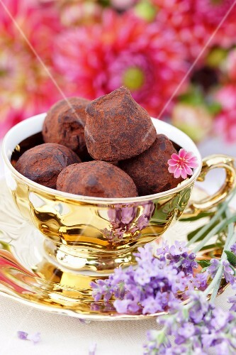 Truffle pralines in a gilded cup