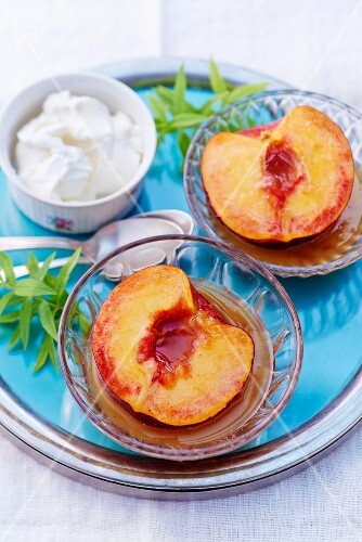 Poached peaches with lemon verbena syrup