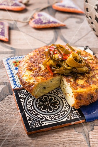 Potato tortilla with garlic and thyme