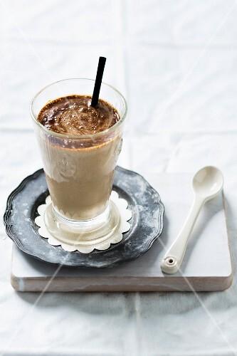 Yoghurt drink with mandarins and chocolate