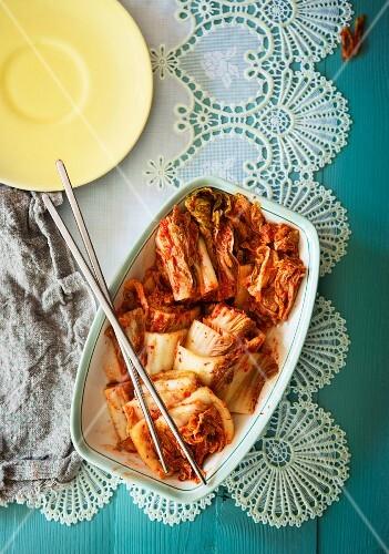 Kimchi (cabbage fermented in lactic acid, Korea)