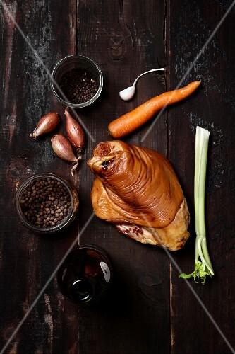 Ingredients for braised pork knuckle