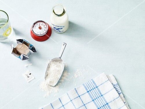 Ingredients and utensils for making bread dough