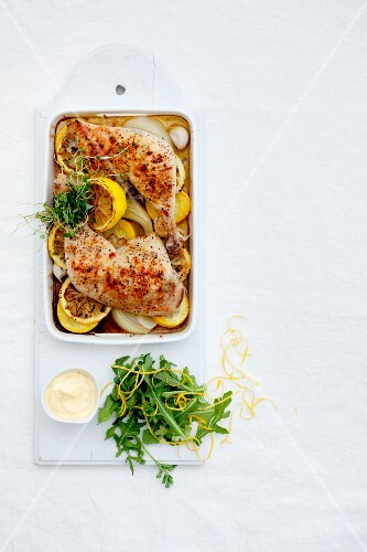 Chicken legs with lemons