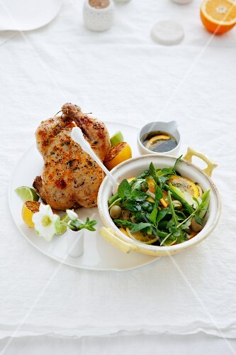 Roast chicken with lemons and salad