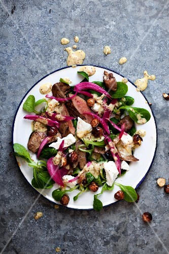 Lamb's lettuce with rabbit and a mustard dressing