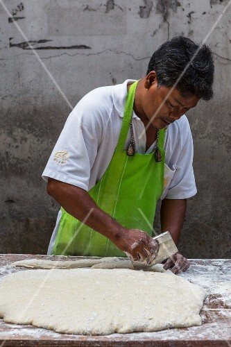 Dough being made for Pa Tong Go (deep-fried pastries, Thailand)