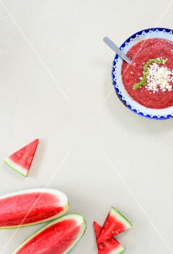 Watermelon gazpacho with feta cheese