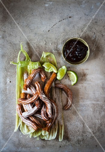 Churros with lime and chilli chocolate
