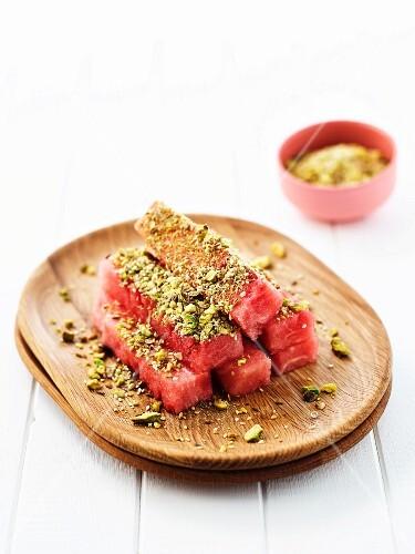 Watermelon with pistachio dukkah