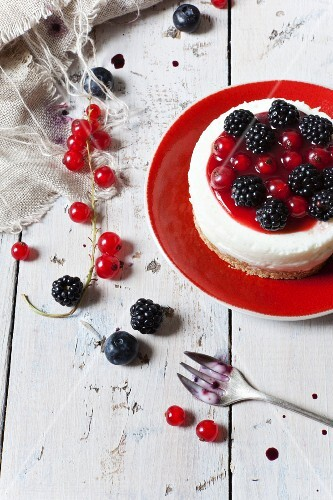 A mini blackberry and redcurrant cheesecake