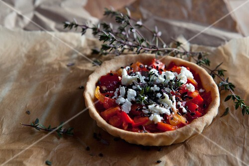 Pepper tart with feta cheese, sesame seeds and thyme