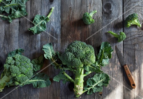 Broccoli on a rustic wooden table