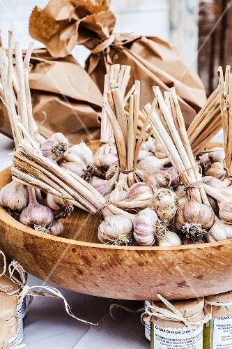 Fresh garlic on a market stall