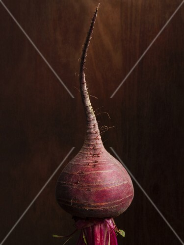 A beetroot against a wooden background