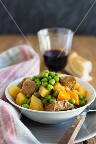 Jardineira stew from Portugal with meat and vegetables