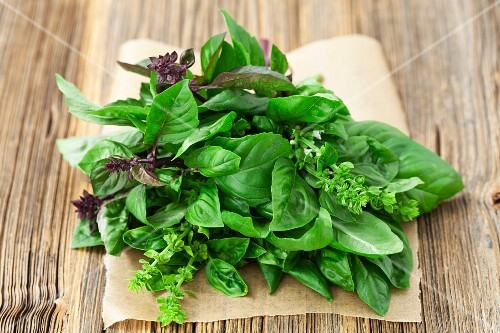 A bunch of fresh, organic basil