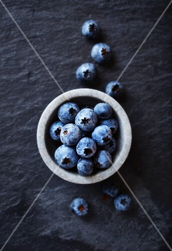 Blueberries in a stone bowl
