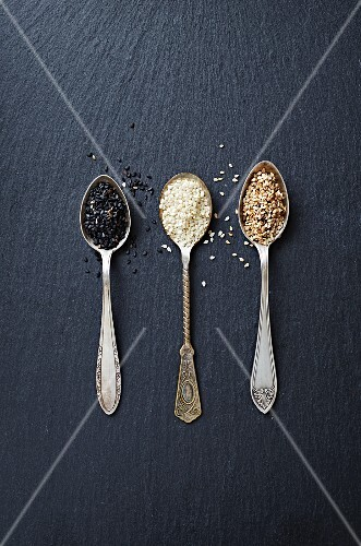 Various types of sesame seeds on three spoons