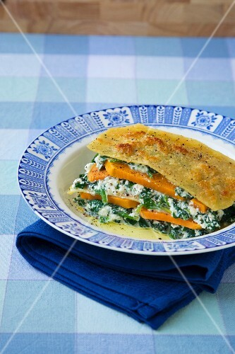Sweet potato and spinach lasagne