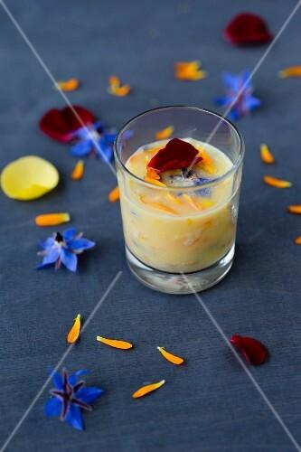 Petal butter made with rose petals, borage petals, marigold petals and sunflower petals