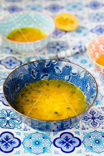 Lemon soup with basmati rice and turmeric (India)