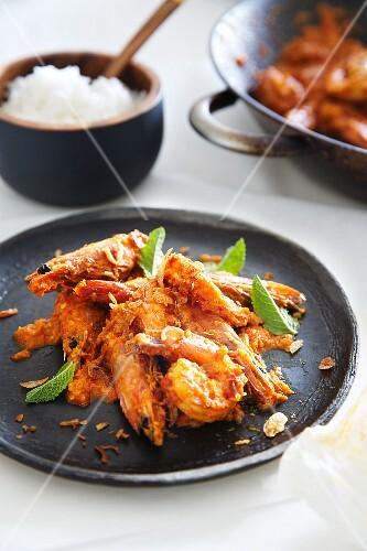 Prawns with sambal and a side of rice (Malaysia)