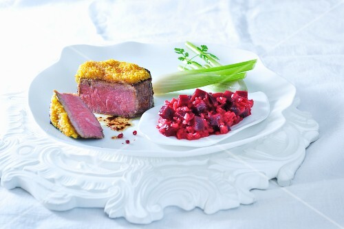 Beef fillet with a curry crust