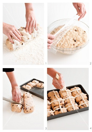 Chocolate chip hot cross buns being made
