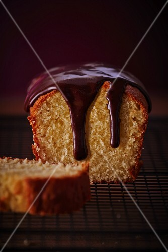A loaf cake with chocolate glaze