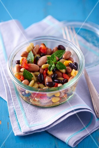 Three bean salad with mint
