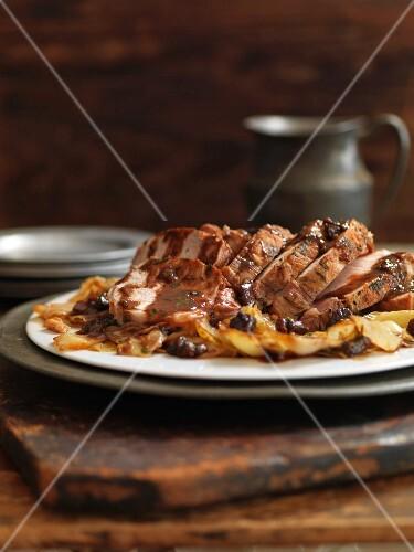 Roast pork with a dark beer gravy