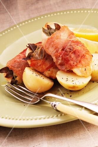 Chicken saltimbocca with potatoes