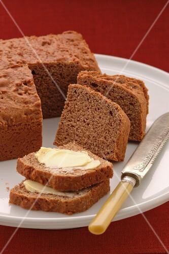 Dutch butter cake, sliced