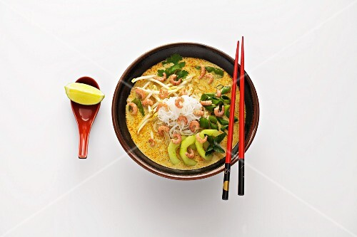 Laksa Lemak (noodles in a coconut milk source, South-East Asia)