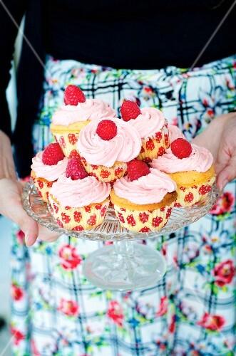 Homemade cupcakes with raspberry cream