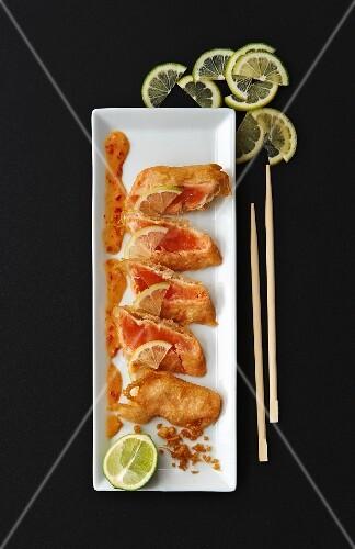 Salmon tempura with limes (Japan)