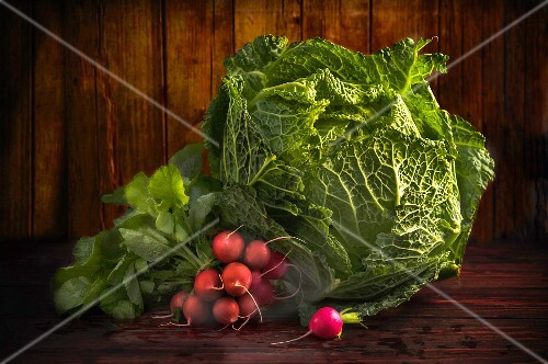 A savoy cabbage and radishes