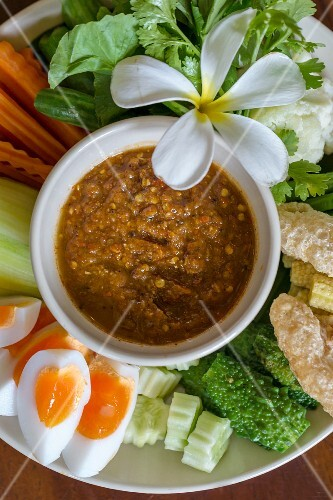 Spicy Nam Prik chilli sauce with boiled egg and vegetables (Thailand)