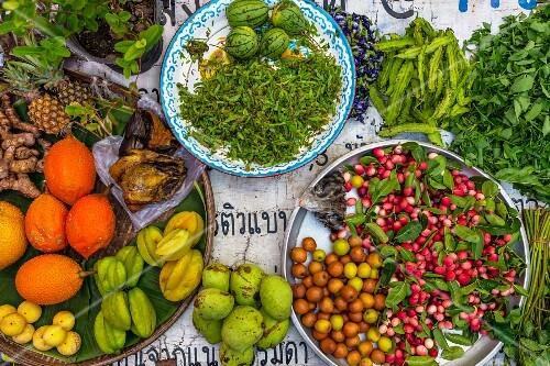 Exotic fruits at a market in Bangkok, Thailand
