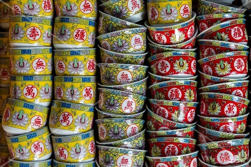 Colourful Chinese tea bowls in Chinatown, Bangkok, Thailand