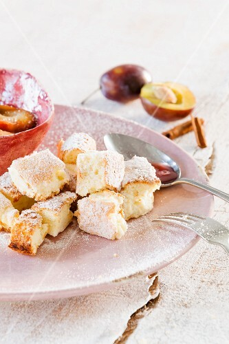 Kaiserschmarrn (shredded sugared pancake from Austria) with damson compote