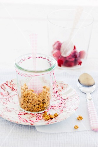 Muesli and raspberries for babies