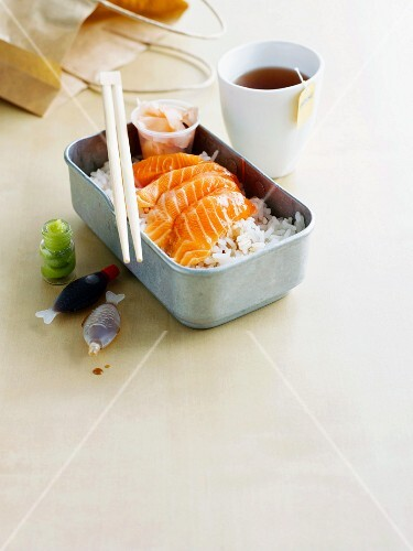 A sushi lunch box and tea