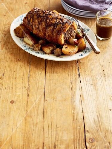Slow roasted shoulder of pork with fennel and chilli